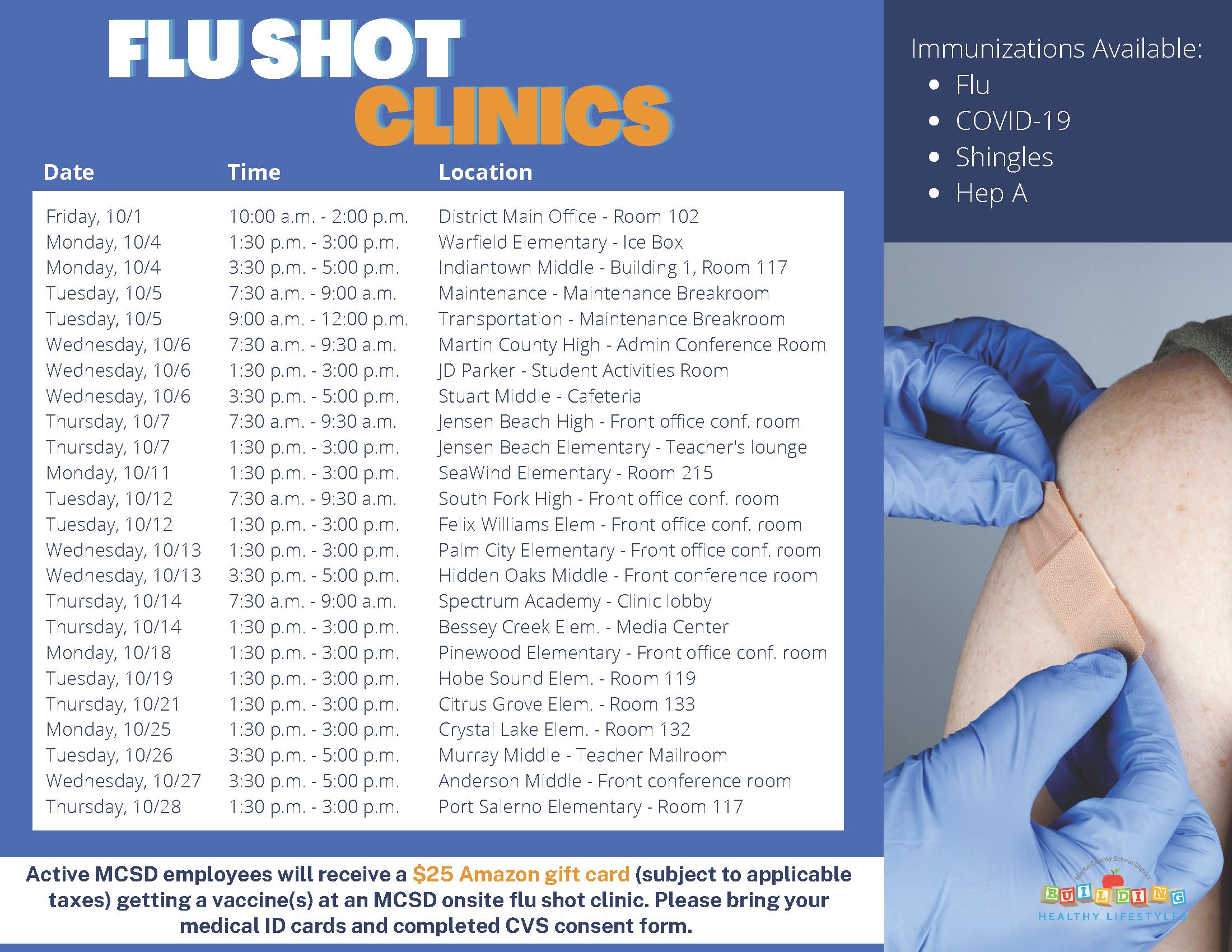 2021/2022 flus shot schedule