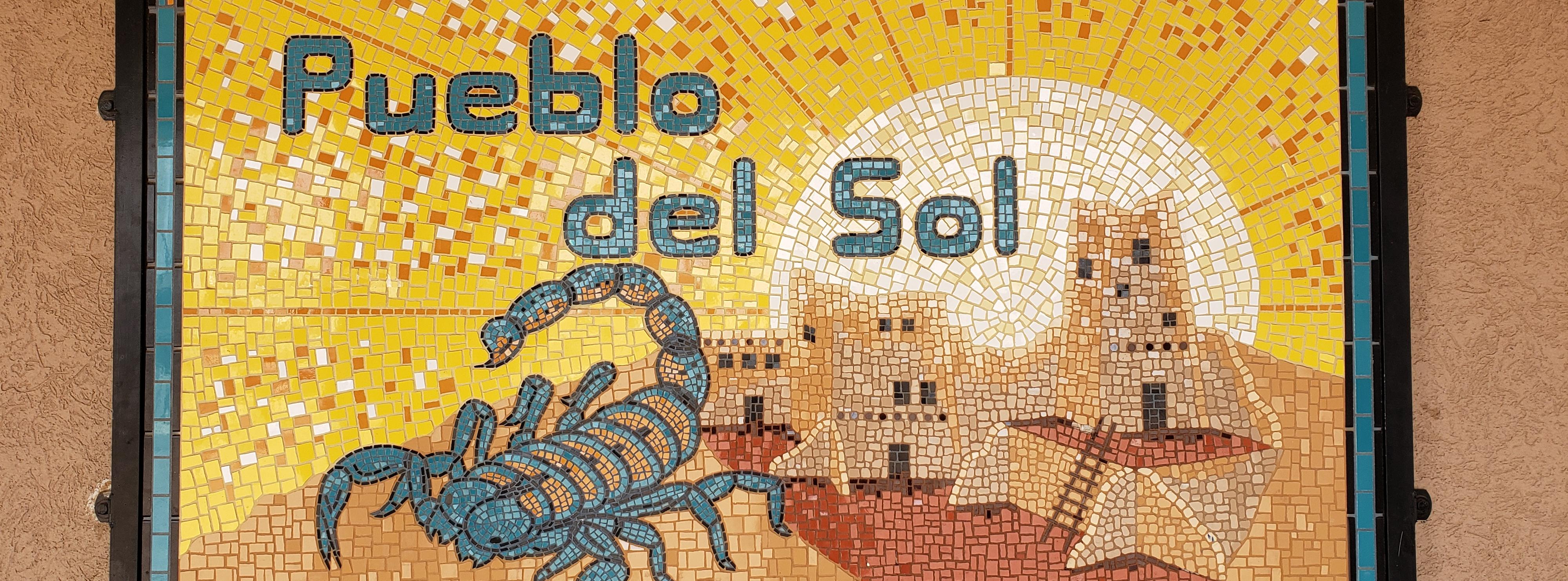 Pueblo del Sol mosaic sign