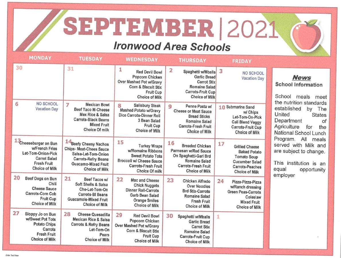 September Lunch Menu 2021