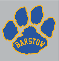 """Blue paw outlined in gold with gold """"Barstow"""" written on the paw"""