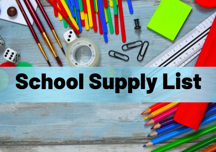 School Supply List with images of pencils, scissors, and paperclips