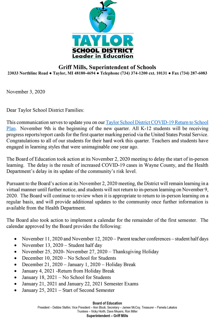 Taylor School District Return to School Plan