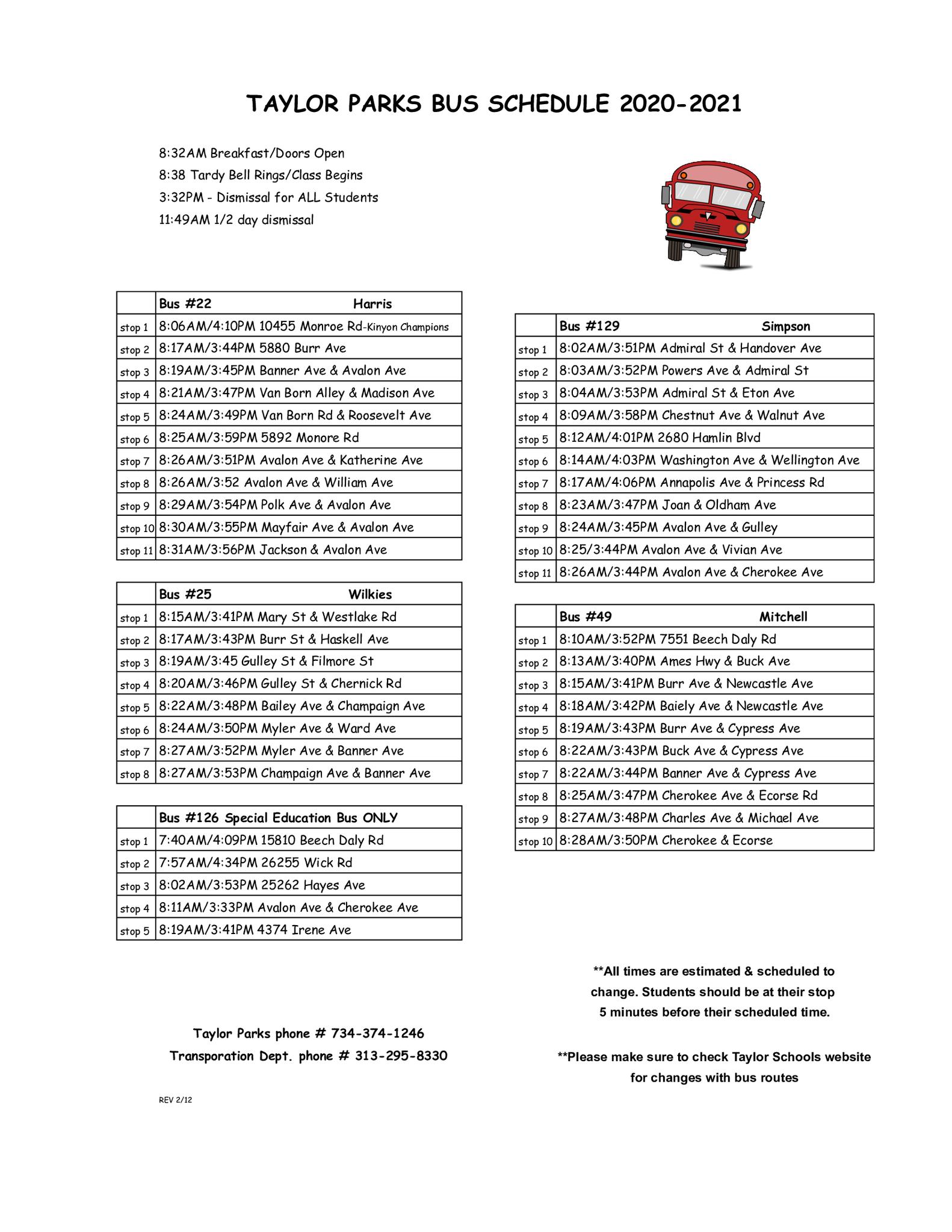 Taylor Parks Bus Schedule 2020-2021