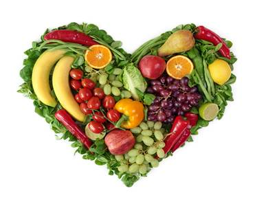 A heart made with fruits and vegetables