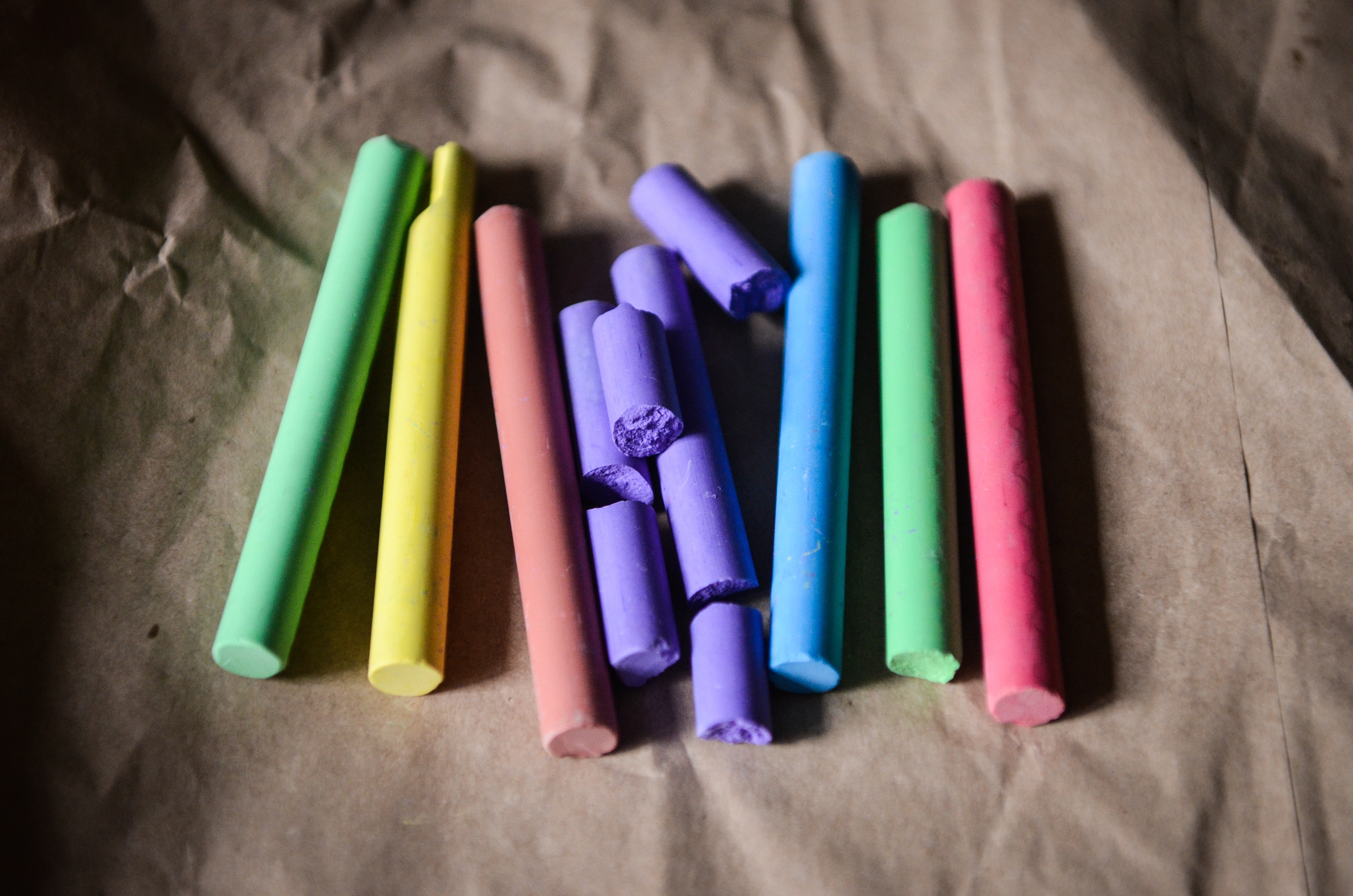 A pile of colorful chalk.