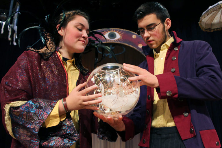 The Two Sides of Prospero (Lauren Wriggly and Kenneth Fay) conjure up a shipwreck