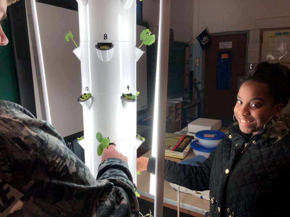 """The students in the PAES Lab transplant their seedlings into their Tower Garden. Looking forward to """"Salad Day"""" in about 6 weeks."""