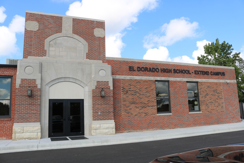 Brick facade of EHS Extend campus entrance