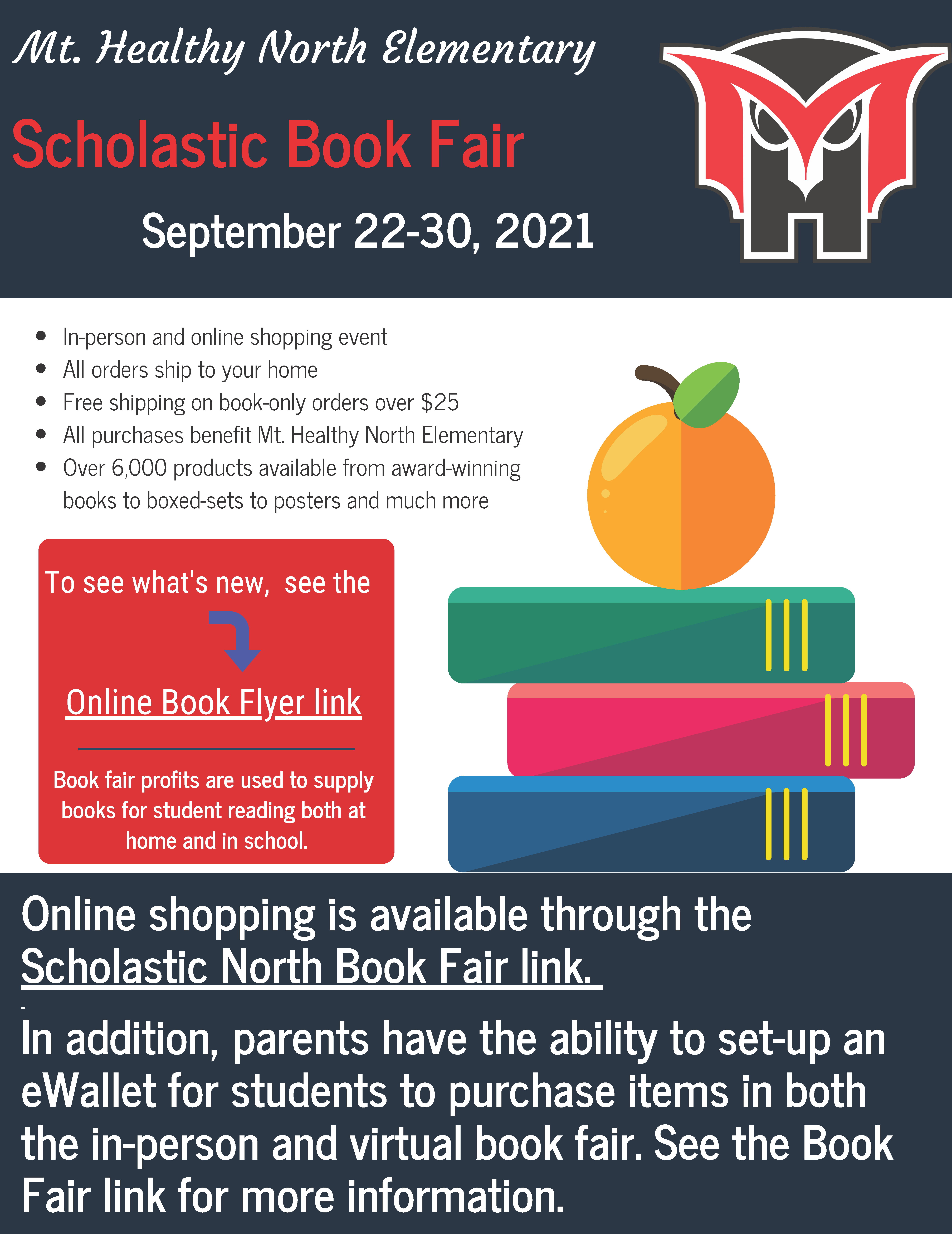 north elementary book fair flyer online information posted with the text
