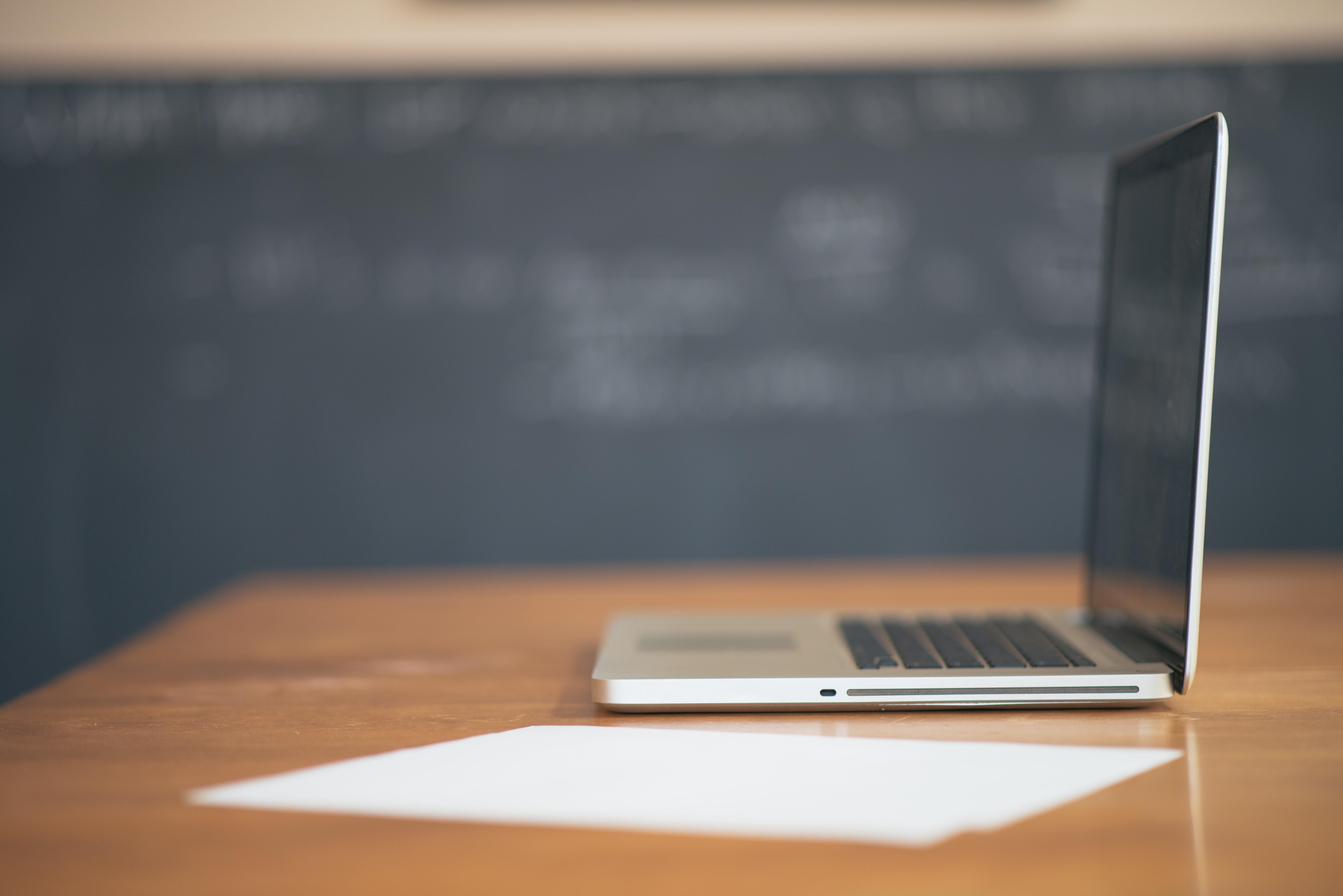 Laptop on a desk