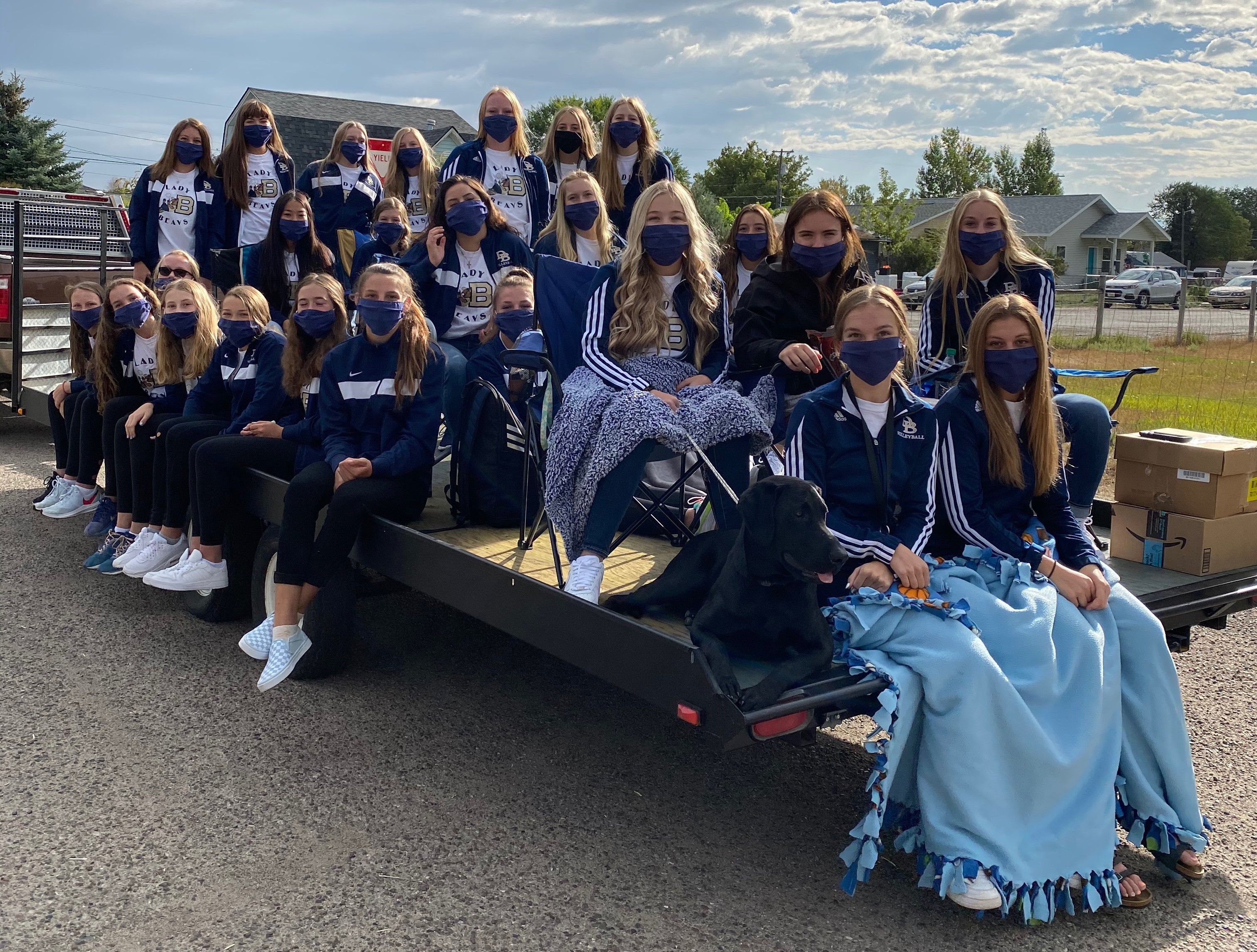 Volleyball team on the back of a truck