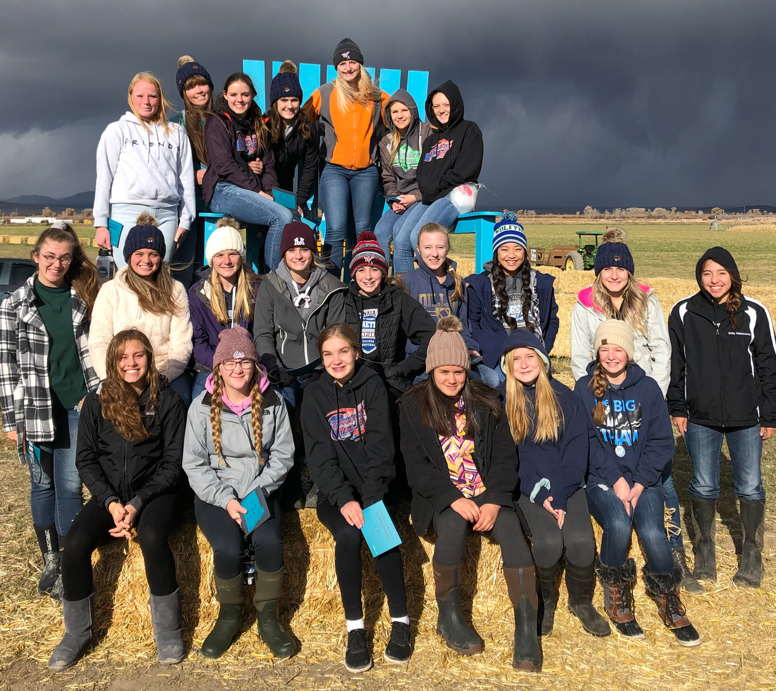 A photo of the volleyball team at the Beaverhead Maze in October 2019
