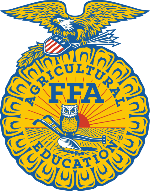 An image of the FFA Agricultural Education logo, a badge with an eagle and an owl on it