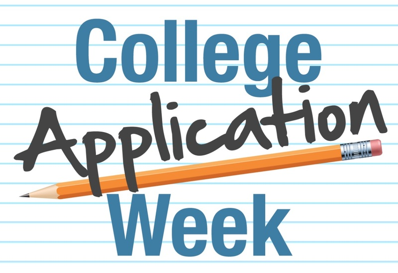 A graphic that says College Application Week on a piece of loose leaf paper with a pencil