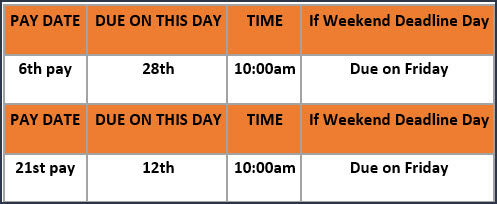 Timesheet are due