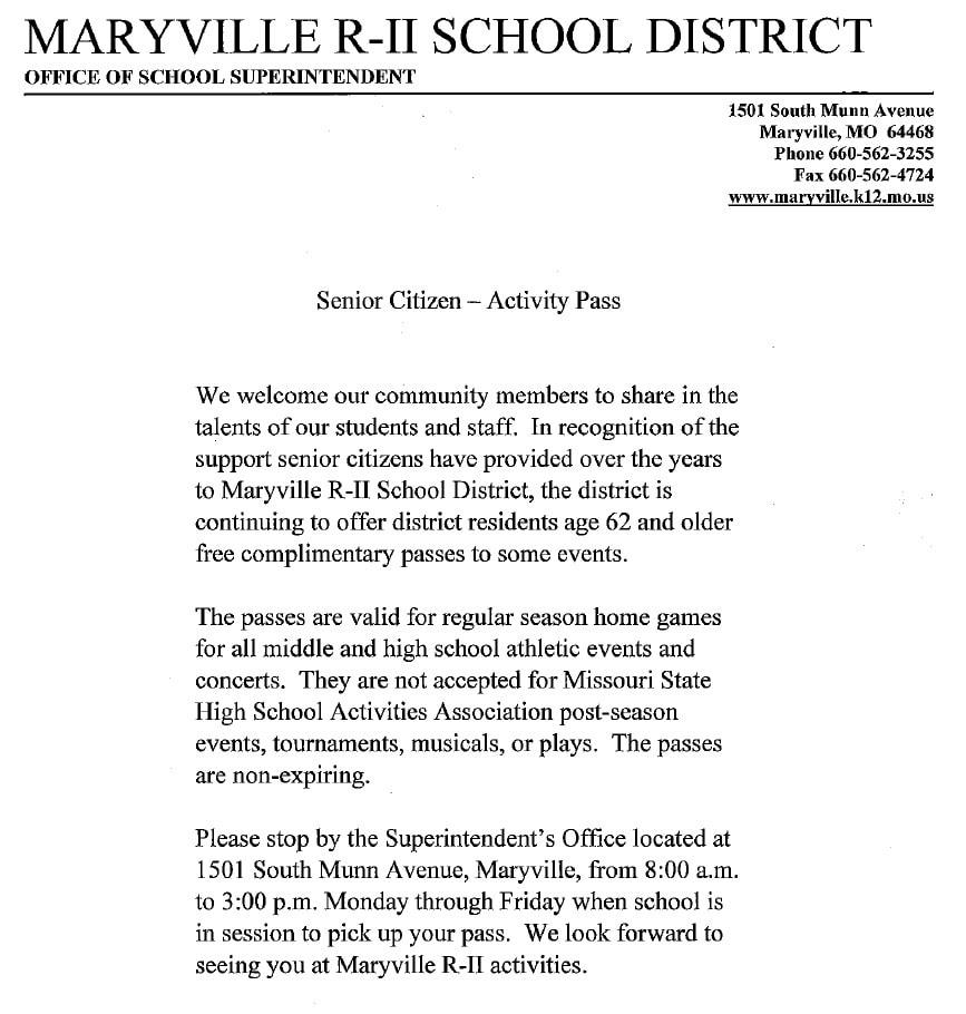 Senior Pass, Maryville R-II School District