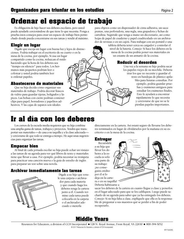Organized for School Success Spanish
