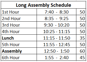 Long Assembly Schedule ciip
