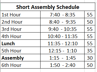 Short Assembly Schedule Clip