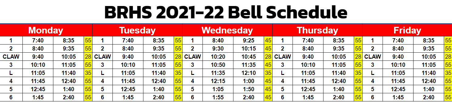 Bell Schedule showing class start and stop times.
