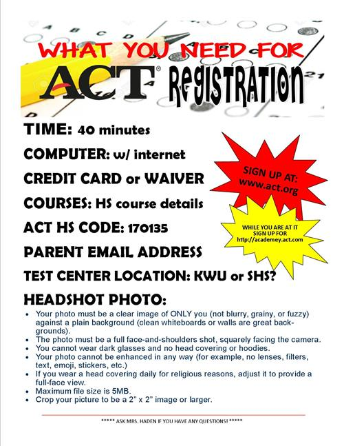 act registration what you need list