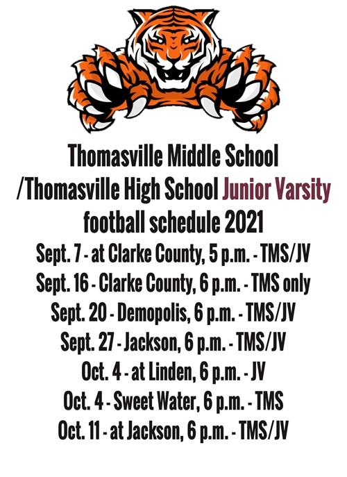 Junior Varsity football schedule