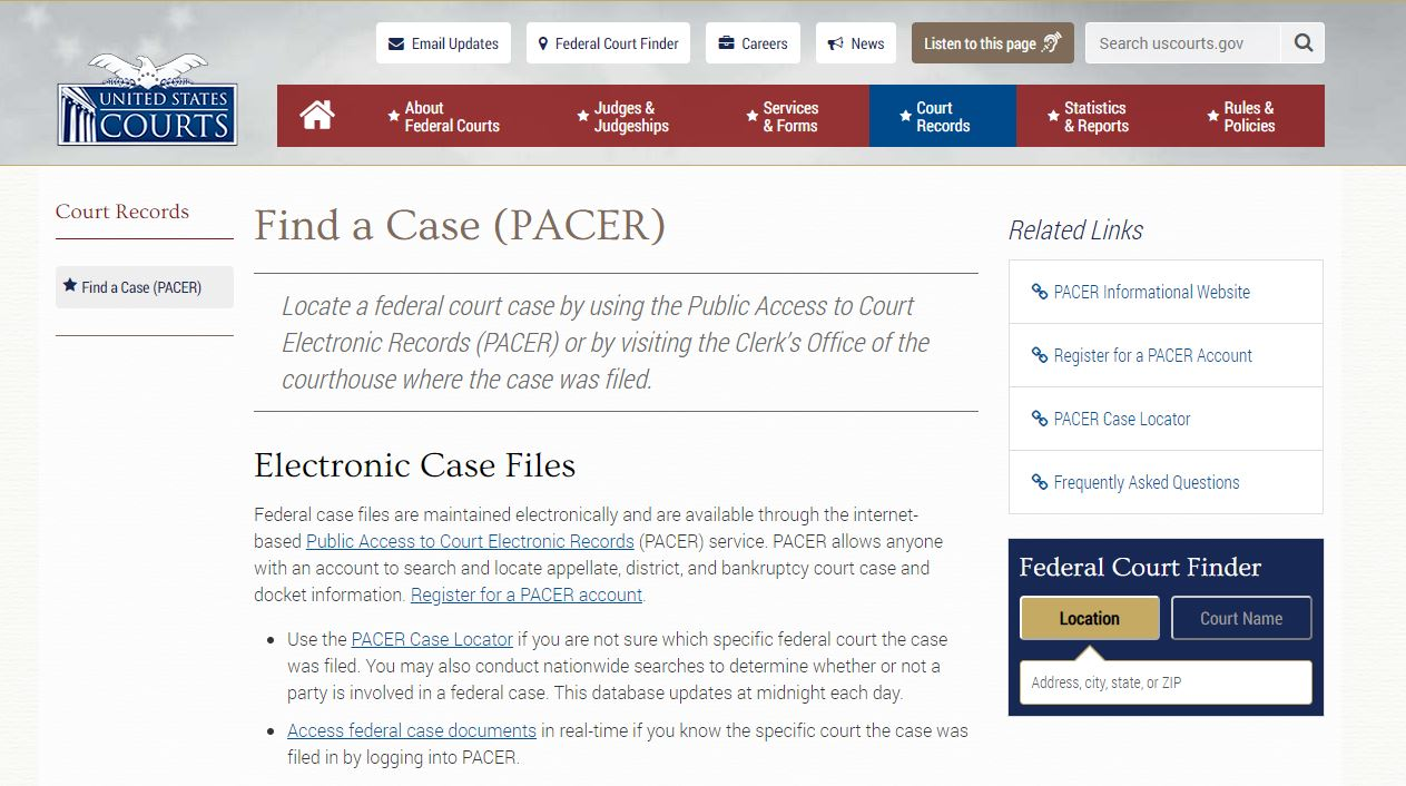 Federal court records