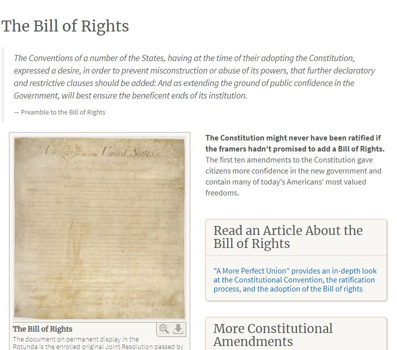 Bill of Rights Webpage in the National Archives