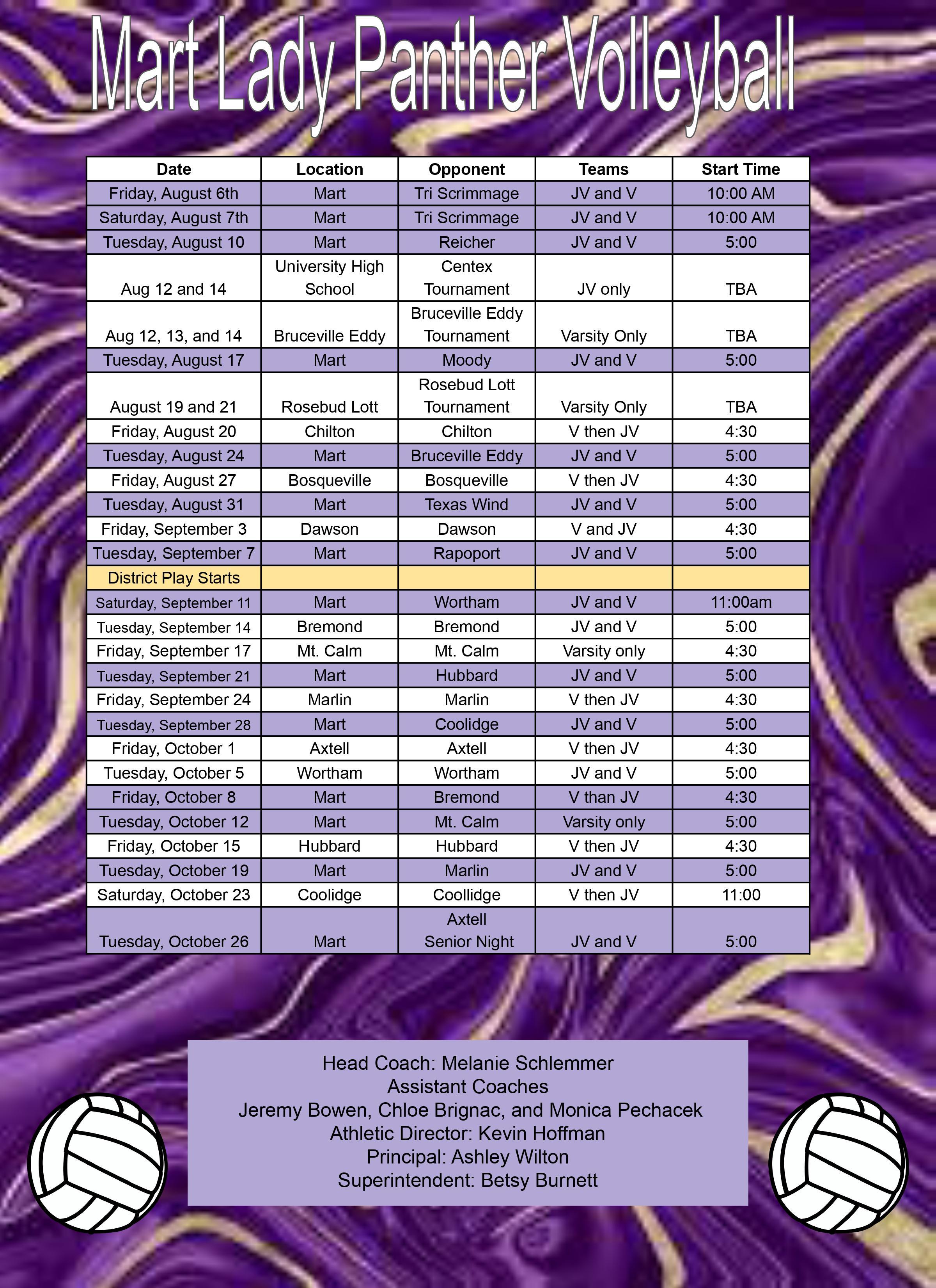 Volleyball 2020 schedule