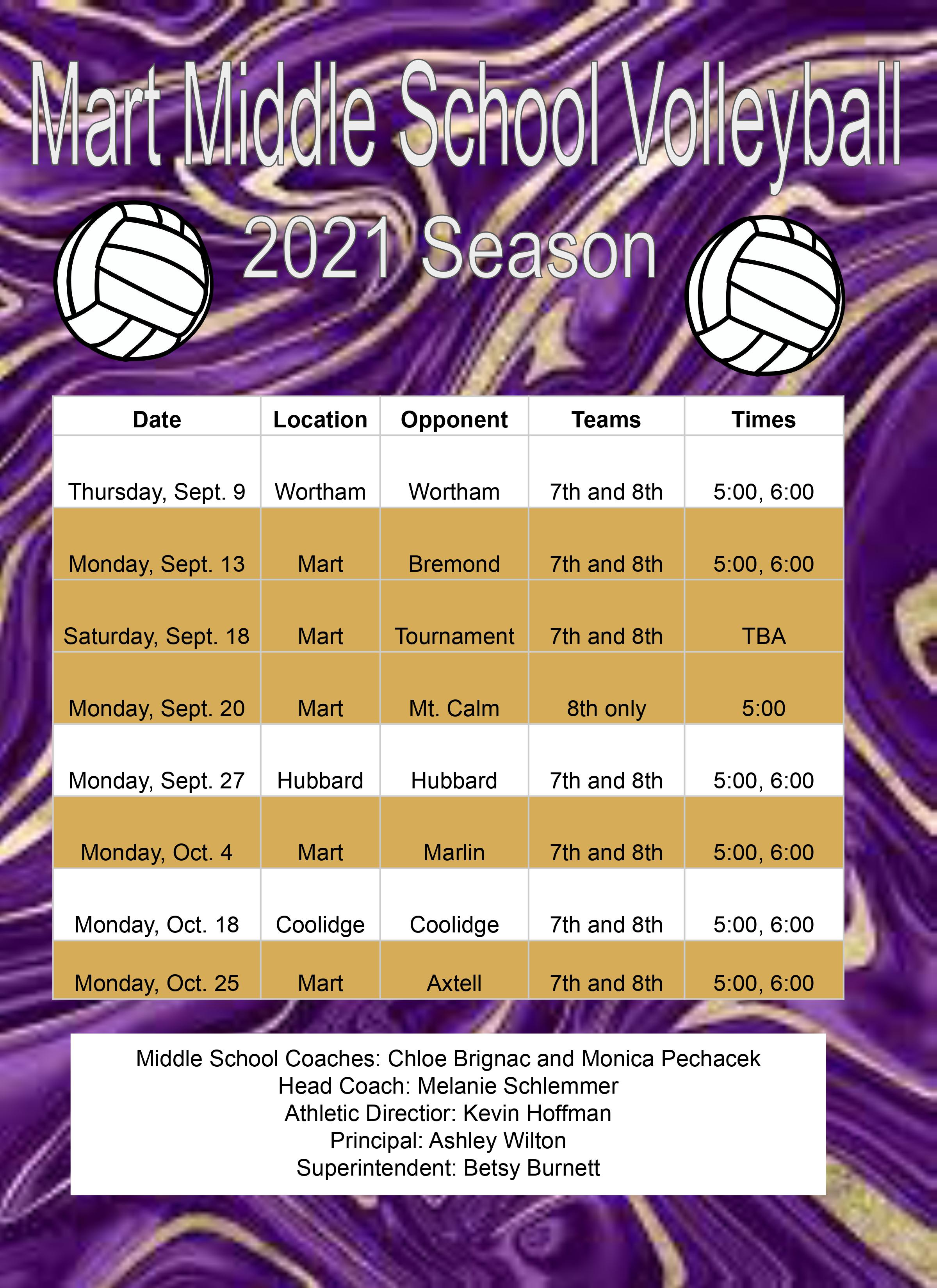 Volleyball middle school schedule