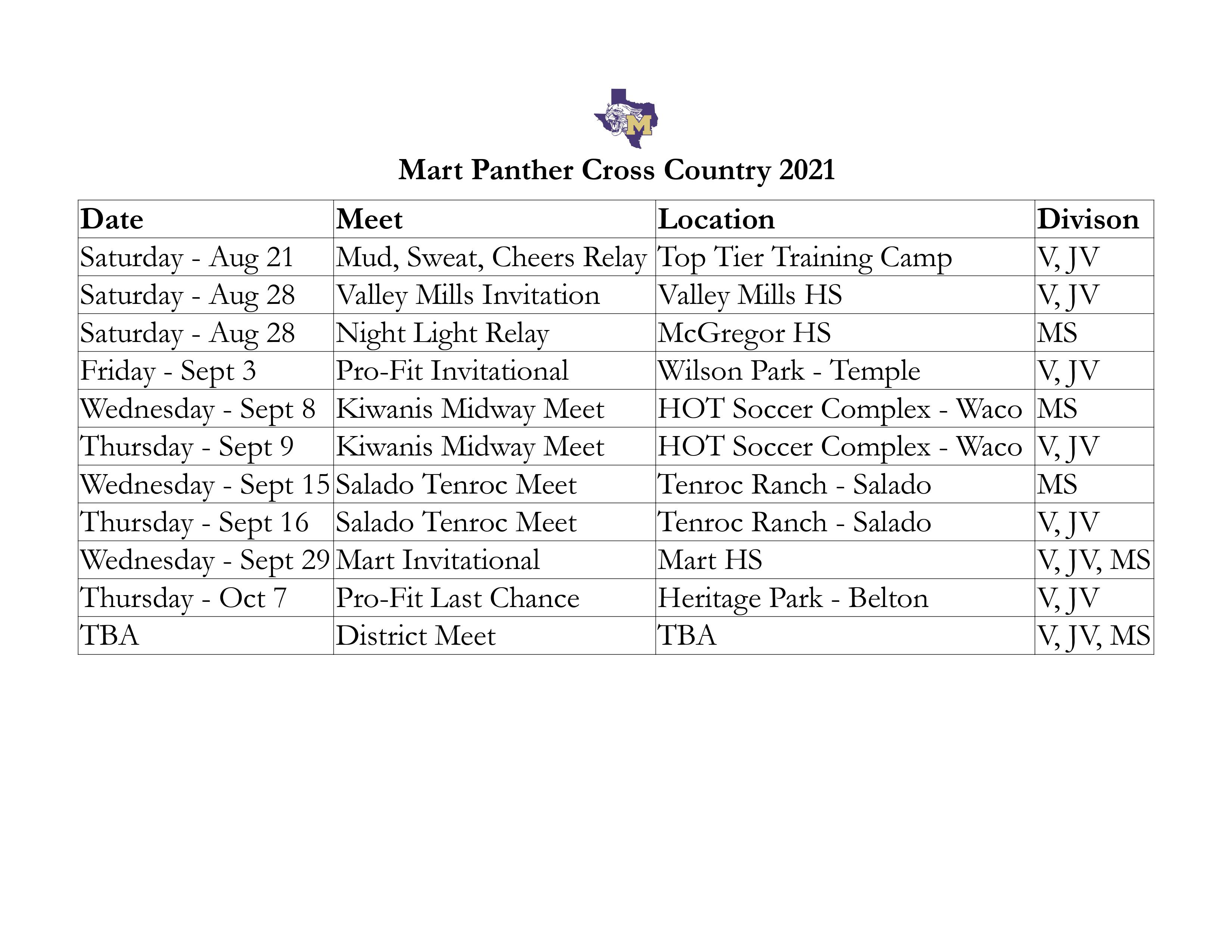 Cross Country 2021 Schedule
