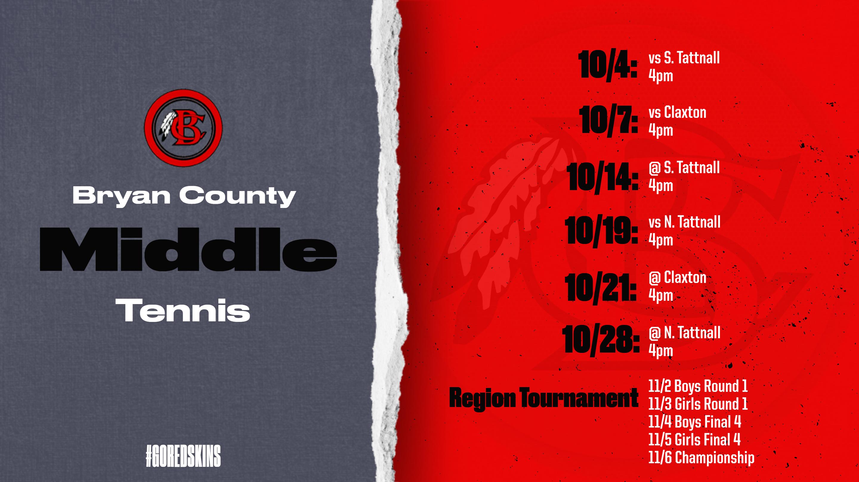 Middle School Tennis Schedule 2021