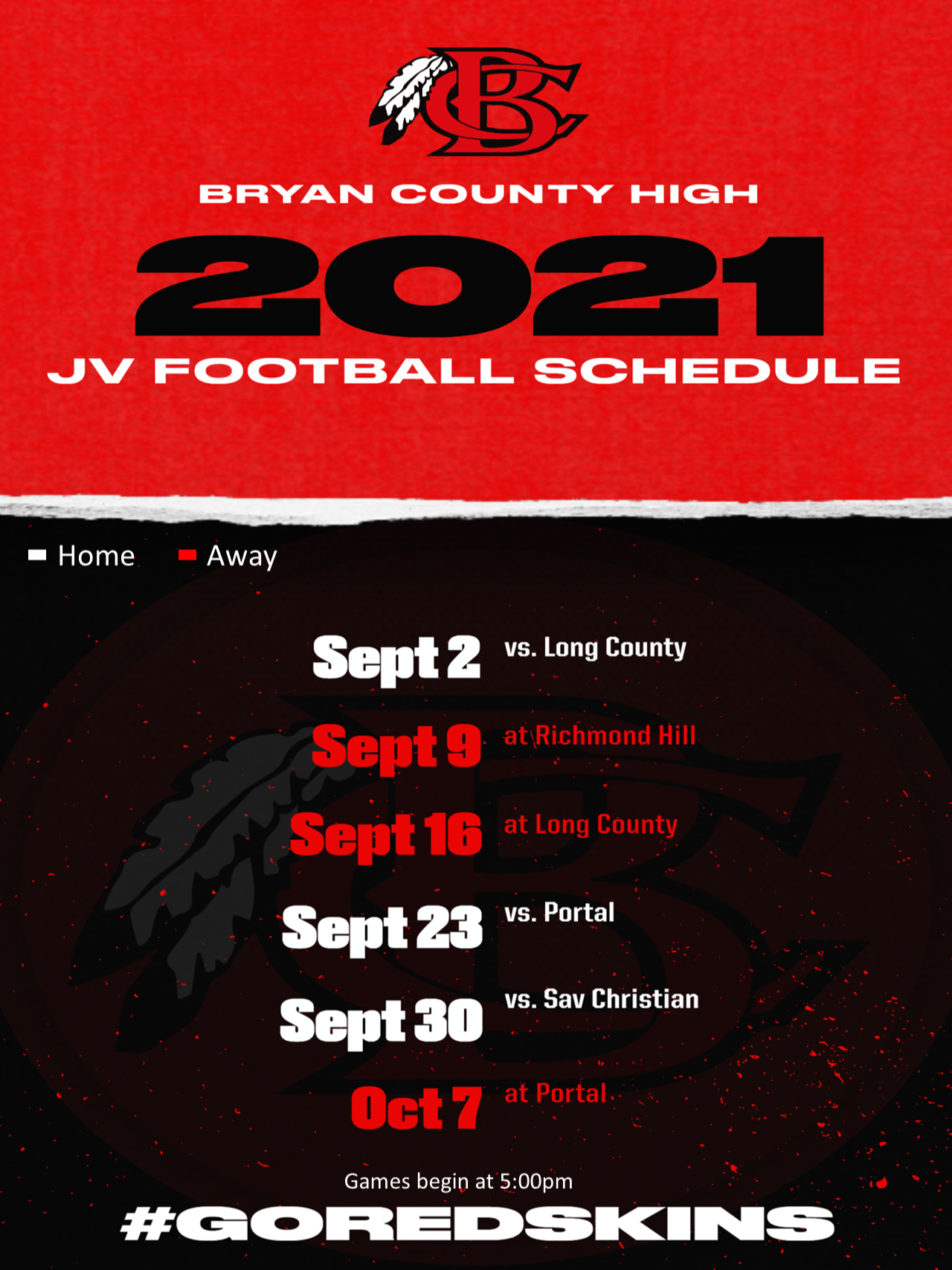 High School JV Football Schedule 2021