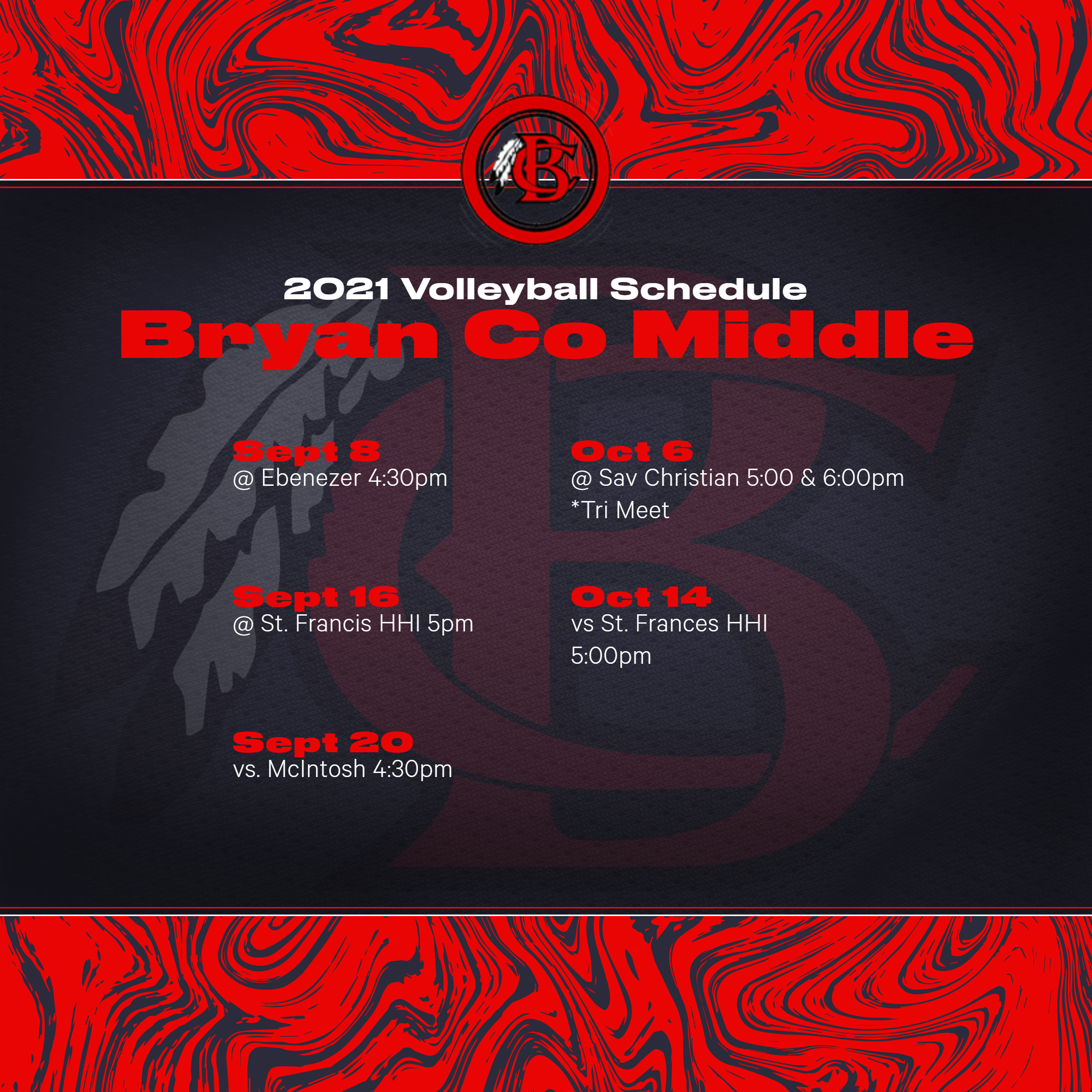 Middle School Volleyball Schedule 2021