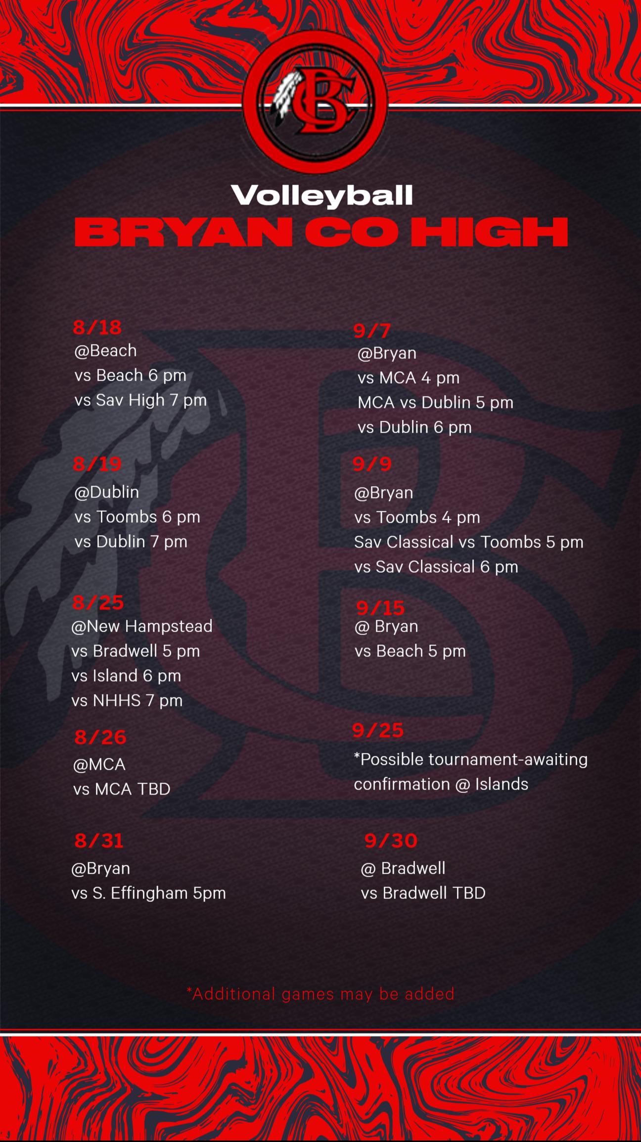 High School Volleyball Schedule 2021