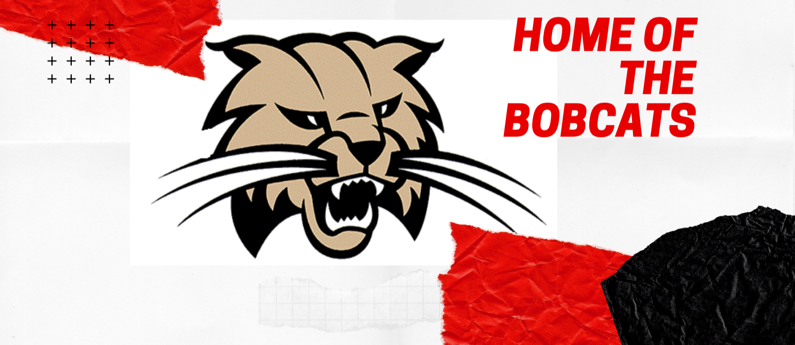 Home of the Bobcats with color image of Bobcat logo