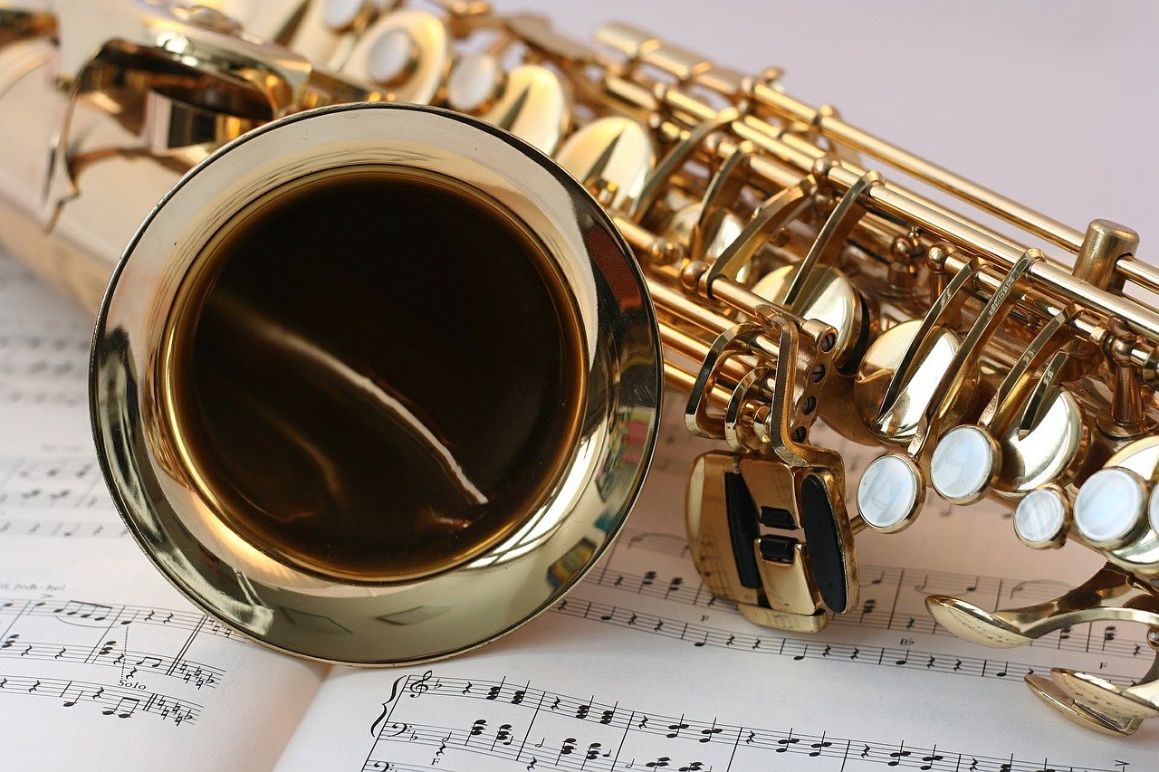 Saxophone on sheet music