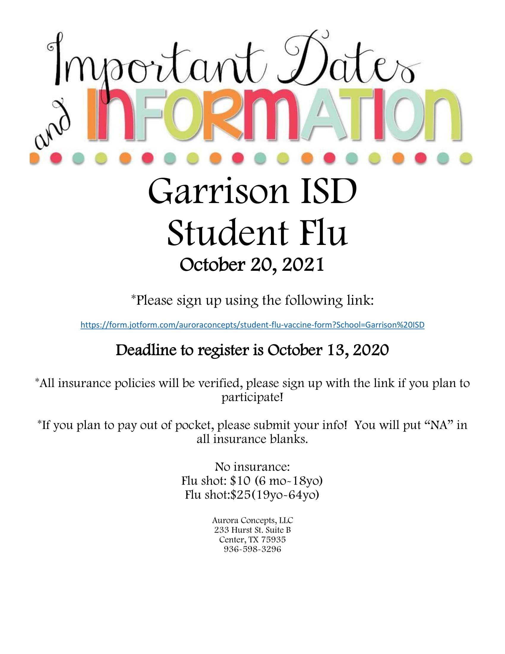 Student Flu flyer