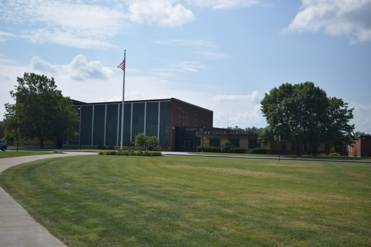 wide shot of district exterior