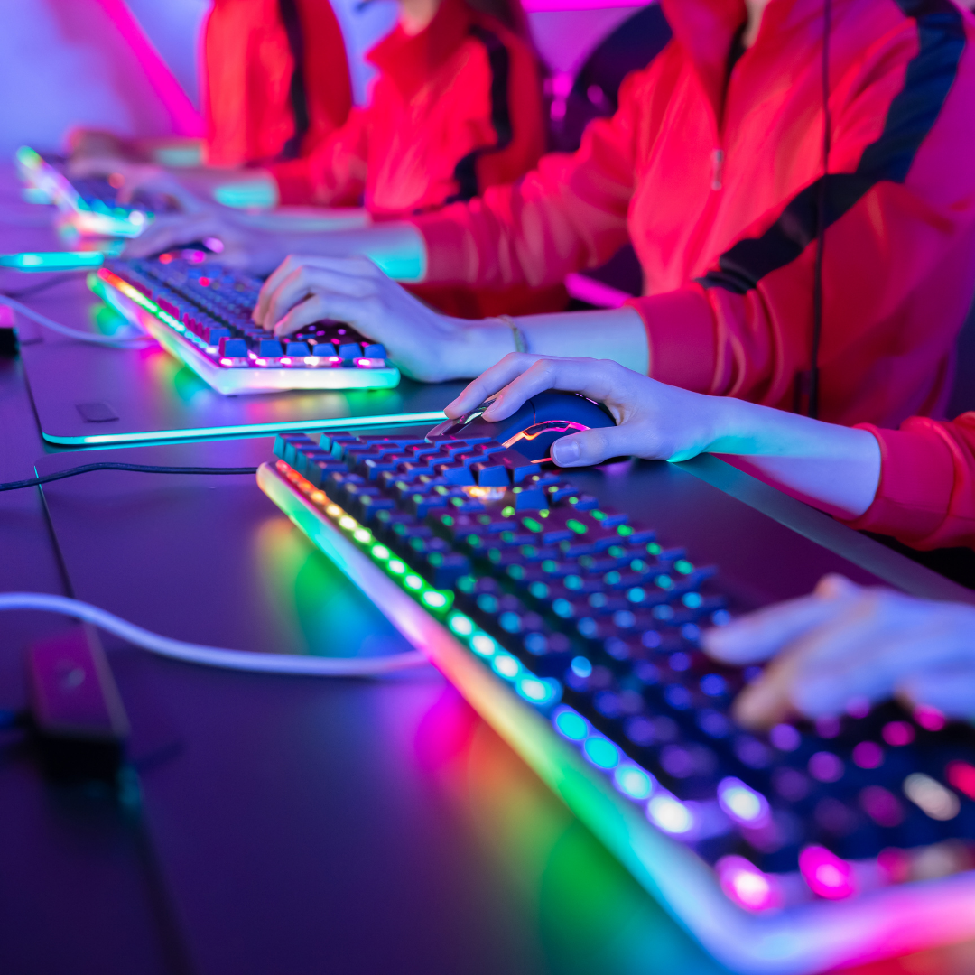 hands and gaming keyboards during esports competition