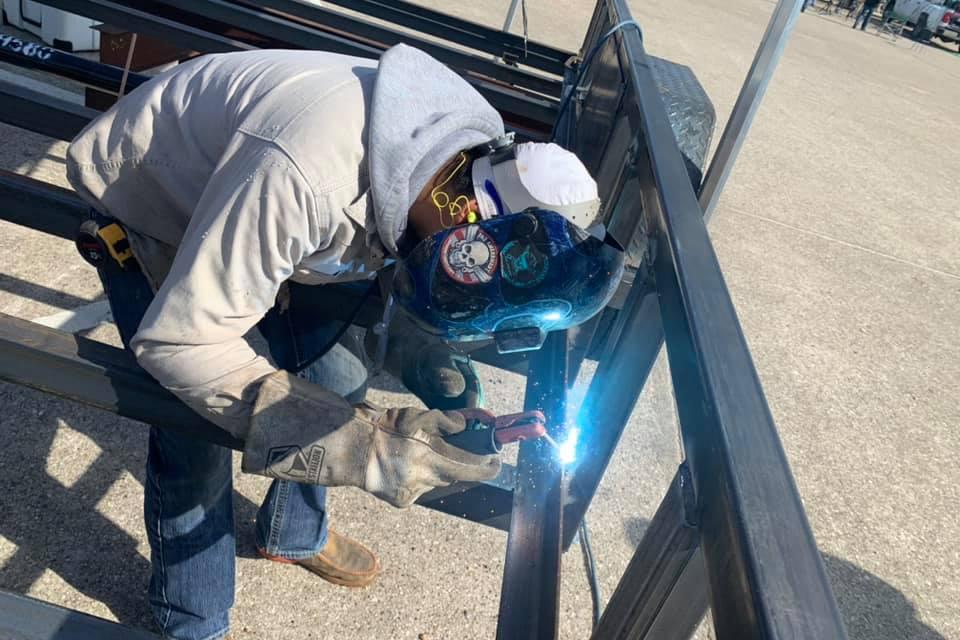 welder with a hood