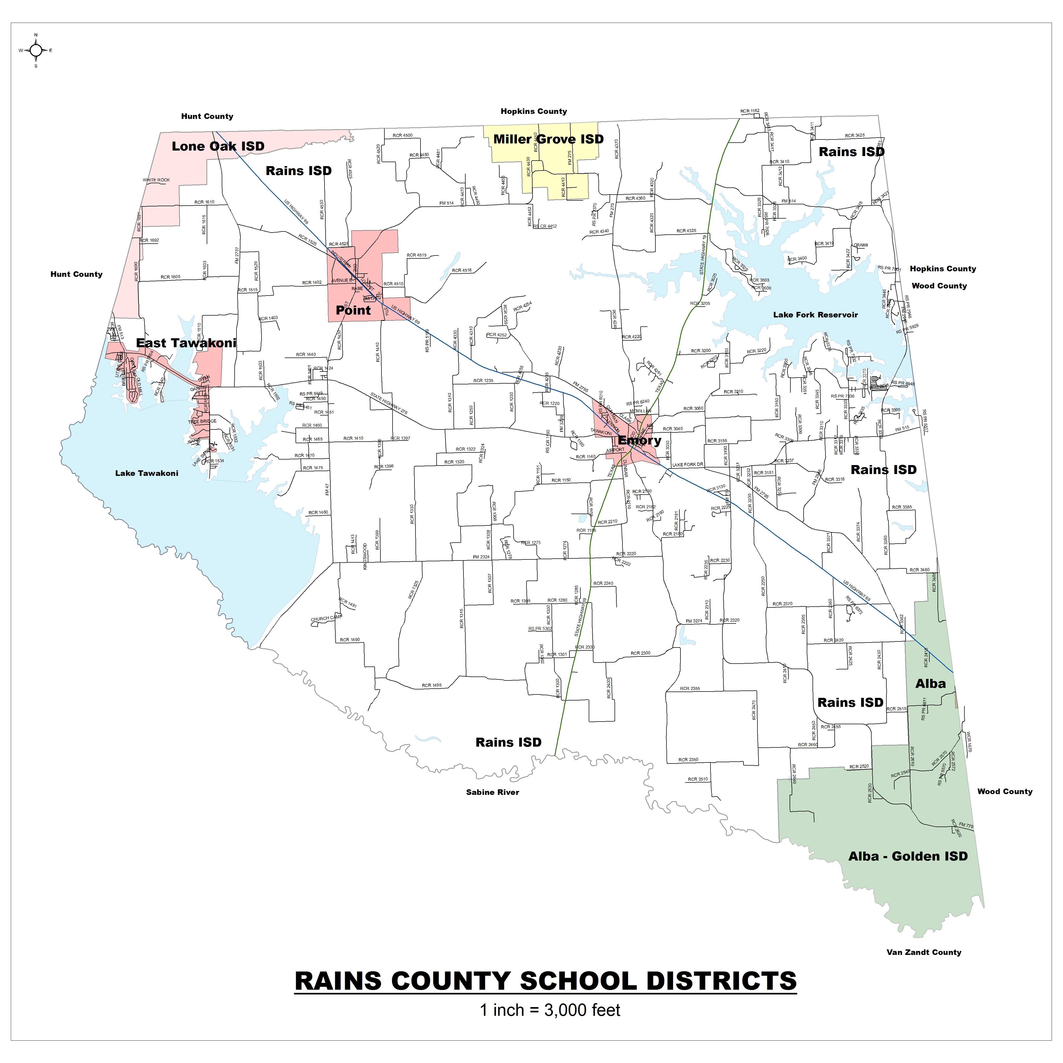 Map of Rains Independent School District