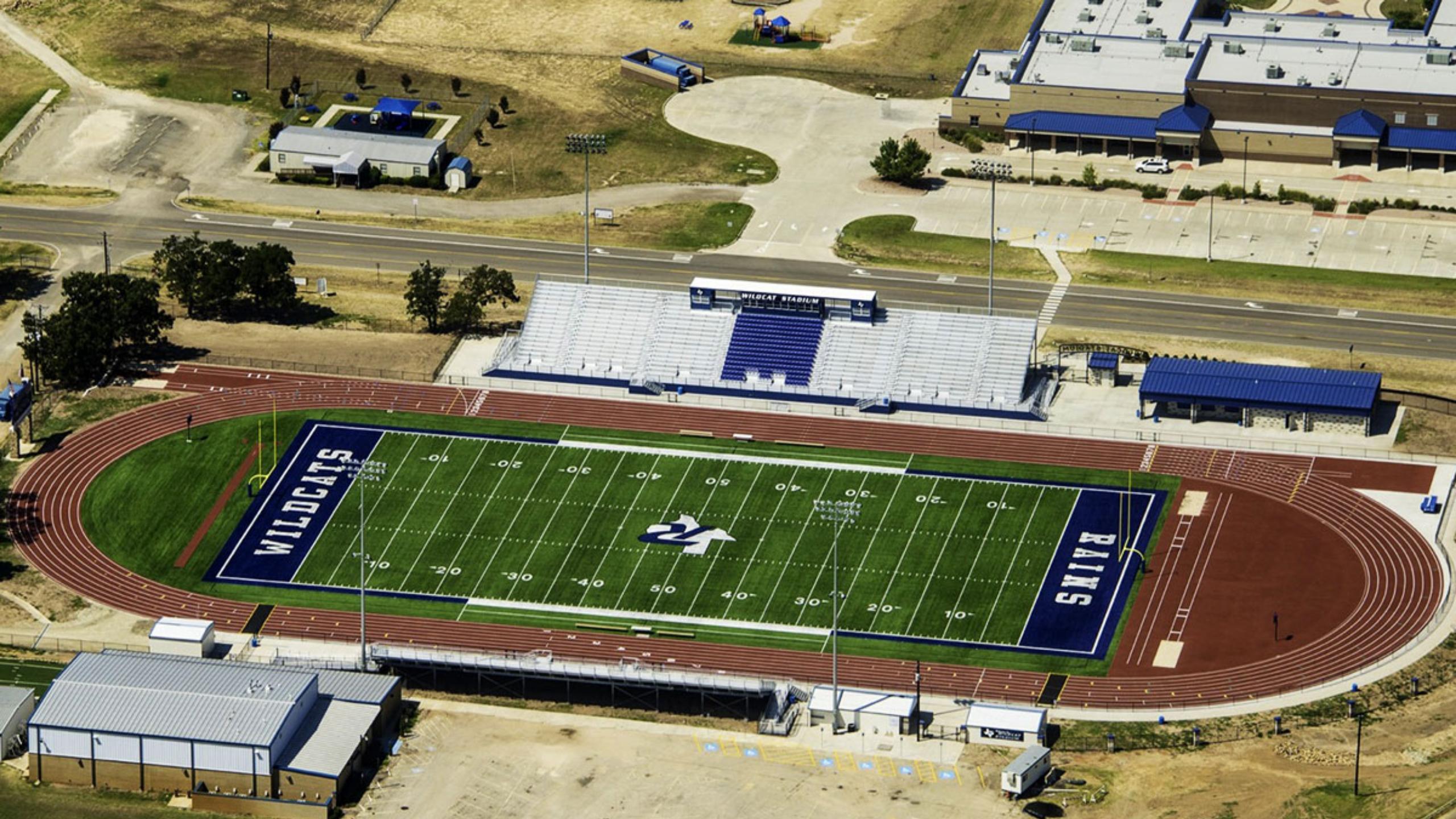 aerial view of Rains Wildcat Stadium