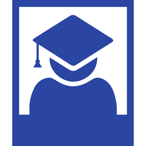 graduate icon inside polaroid frame