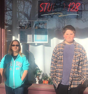 Students in front of Store