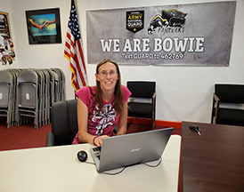 Bowie staff member on her laptop