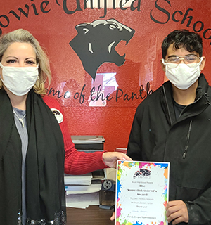 teacher and student wearing mask