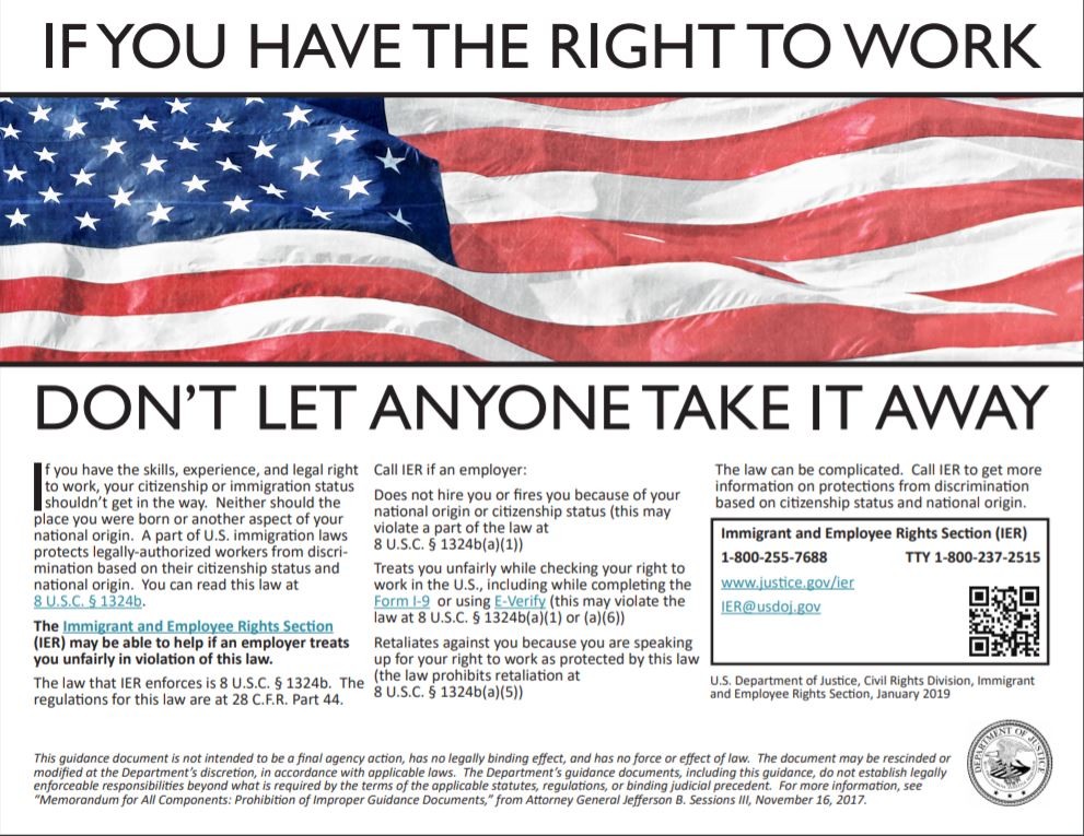 IF YOU HAVE THE RIGHT TO WORK DON'T LET ANYONE TAKE IT AWAY - POSTER.