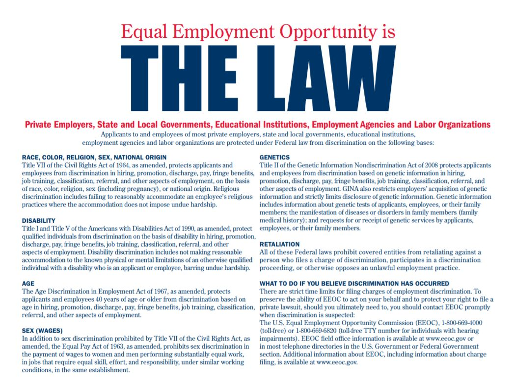 EQUAL EMPLOYMENT OPPORTUNITY IS THE LAW - INFORMATION