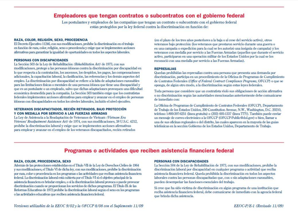 LA IGUALDAD DE OPORTUNIDADES DE EMPLEO ES LA LEY - INFORMACIÓN